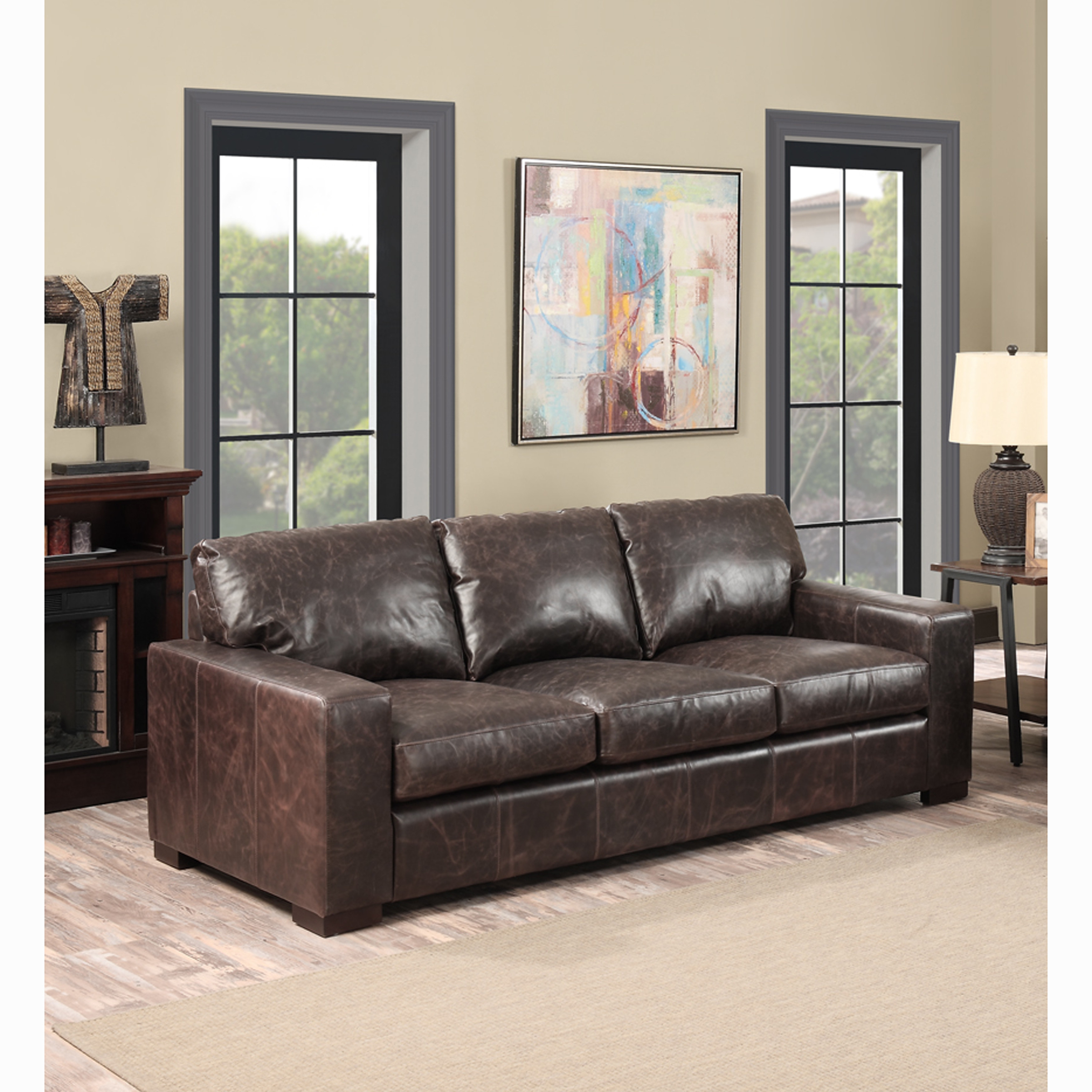 Sofaweb Com Maxweld Premium Distressed Brown Top Grain Leather Sofa Walmart Com