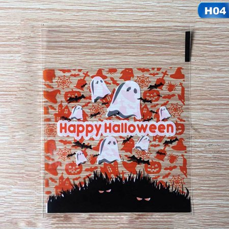 Halloween Sweet Bags (Fancyleo 100x Halloween Cello Cellophane Sweet Candy Bags Square Favor Kids)