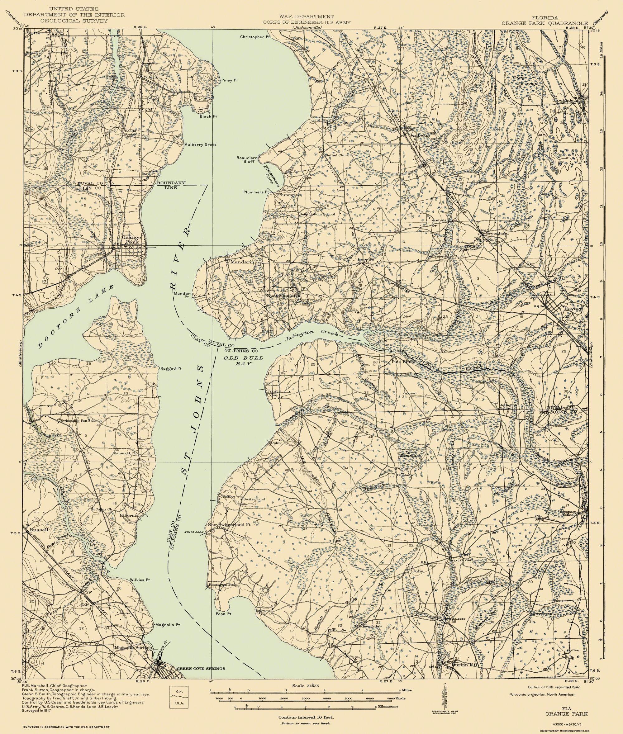 Old Topographical Map Print Orange Park Florida Quad USGS - Florida quad map