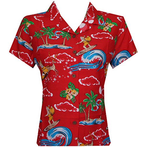 Hawaiian Shirt 41W Womens Christmas Santa Claus Top Blouse Aloha Beach Red XS