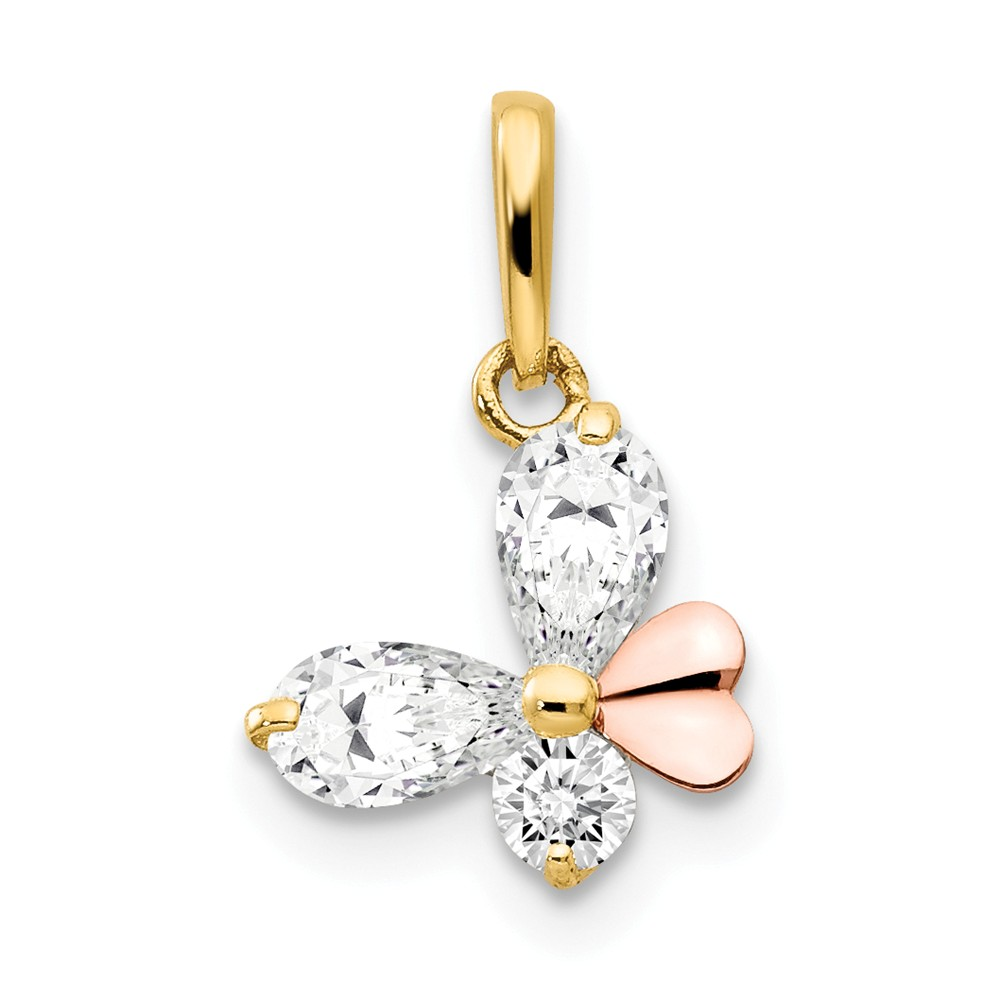 14k Two Tone Yellow and Rose Gold CZ Children's Butterfly Pendant