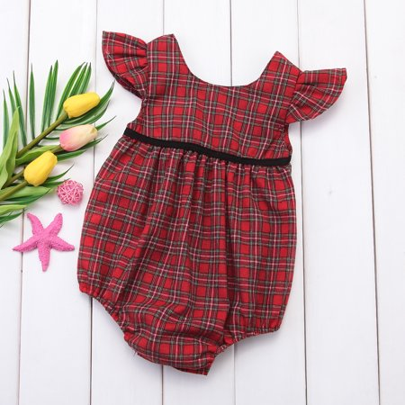 Toddler Infant Twins Baby Girl Ruffle Sleeve Plaid Romper Bodysuit Summer Outfit](Plaid Onesie)