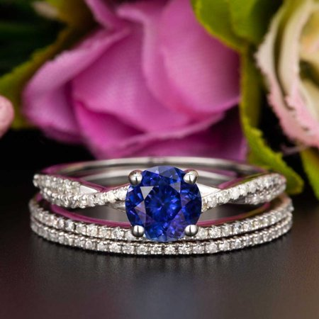 2 Carat Round Cut Real Sapphire and Diamond Wedding Trio Ring Set with Engagement Ring and 2 Wedding Bands in 18k Gold Over (Round Cut Natural Sapphire)