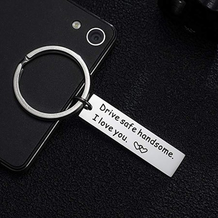 Obstce Drive Safe Handsome Letters Tag Pendant Car Keychain Key Ring Boyfriend - Key Ring Gift