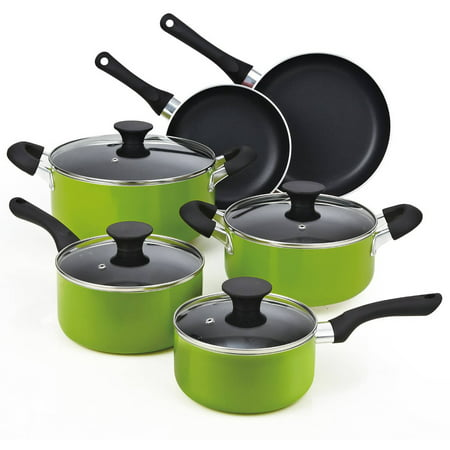 Cook N Home 10-Piece Nonstick Soft Handle Cookware Set, Green
