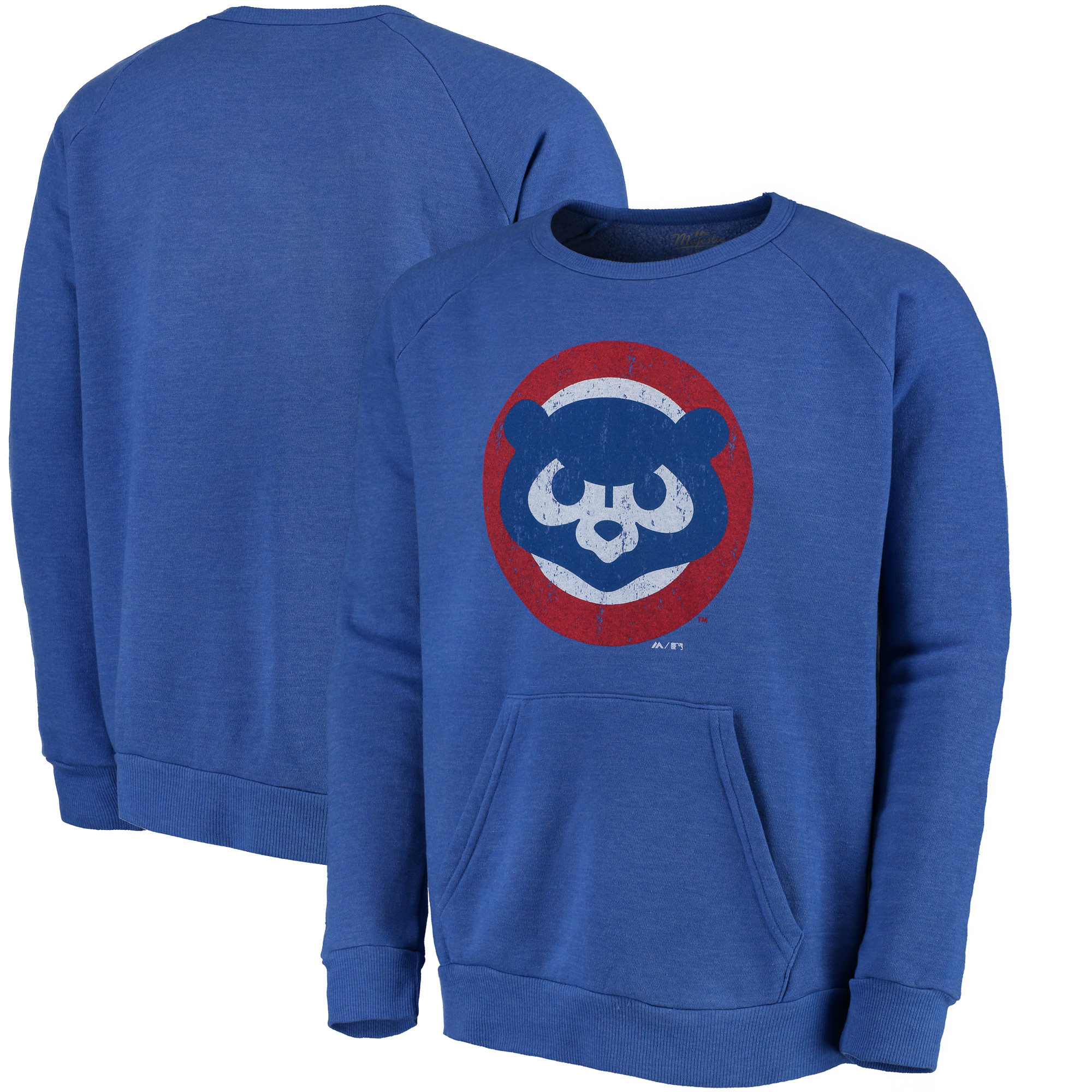 Chicago Cubs Majestic Threads Cooperstown Collection Tri-Blend Pocket Fleece Sweatshirt - Royal