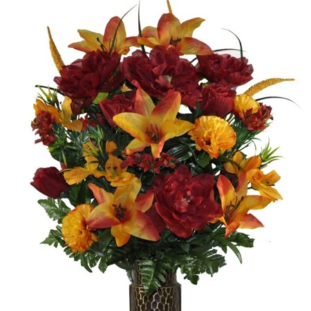 Orange Stargazer Lily and Burgundy Rose Mix Artificial Bouquet, featuring the Stay-In-The-Vase Design(c) Flower Holder (LG1306) ()