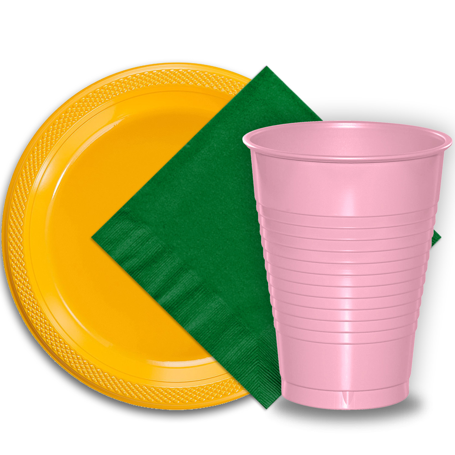 "50 Yellow Plastic Plates (9""), 50 Pink Plastic Cups (12 oz.), and 50 Emerald Green Paper Napkins, Dazzelling Colored Disposable Party Supplies Tableware Set for Fifty Guests."