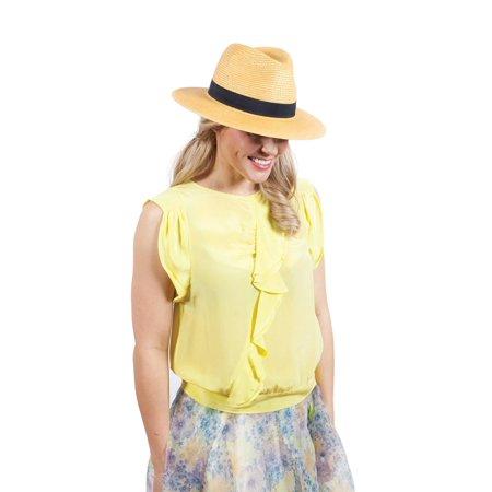 ChicHeadwear Womens 100% Paper Panama Hat w/ Metallic Band - Gold - image 1 of 2