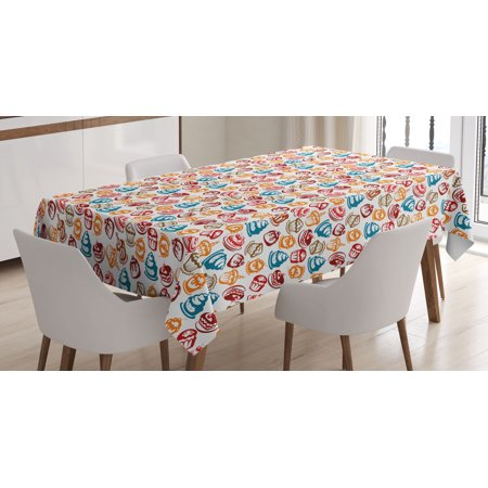 Culinary Tablecloth, Cupcakes Cakes Creams Cherries Candles Artwork Image Print, Rectangular Table Cover for Dining Room Kitchen, 60 X 84 Inches, Petrol Blue Ginger Ruby White, by Ambesonne - Cake Table