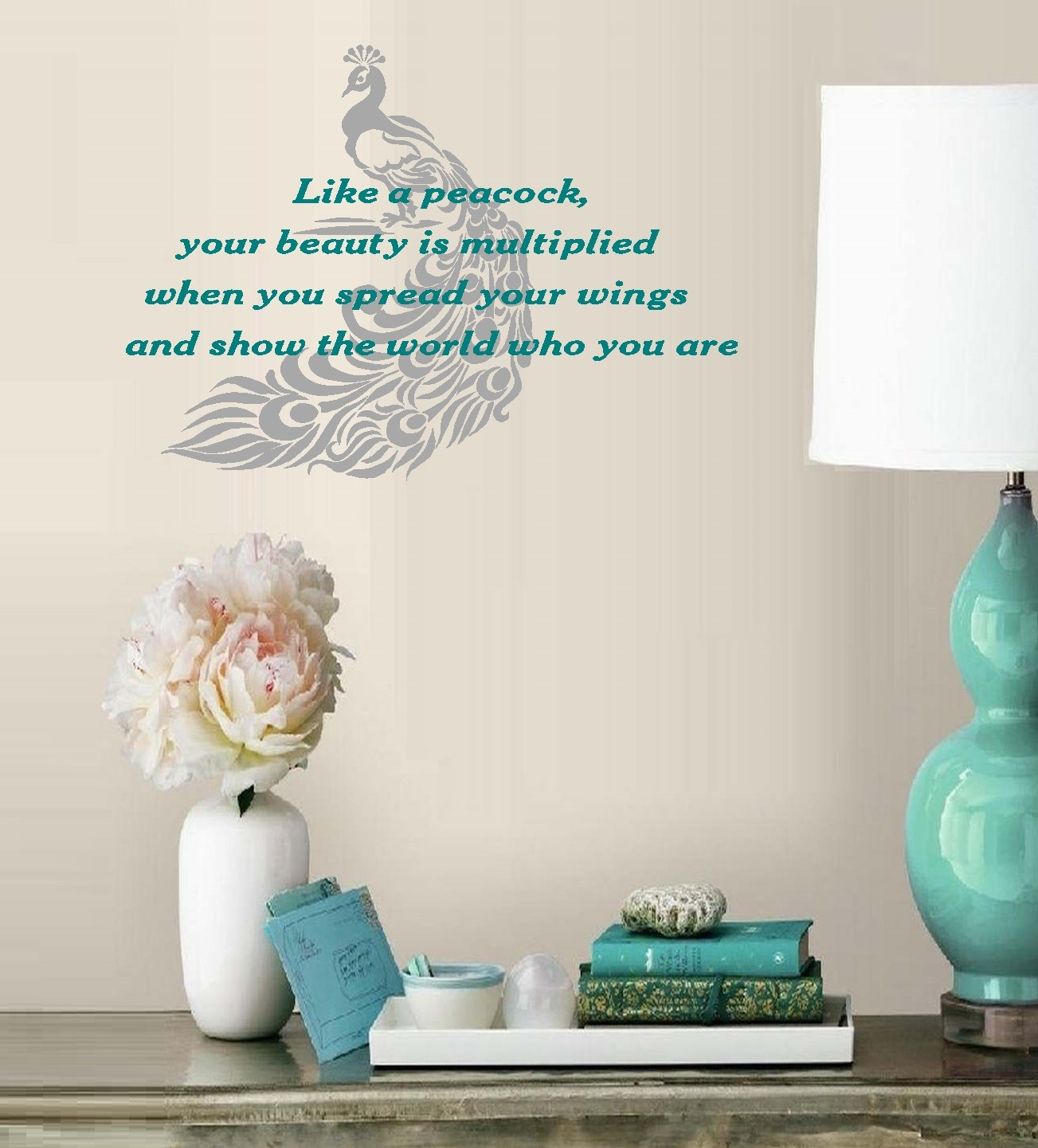 """Like a Peacock, your beauty is multiplied #2 ~ Wall Decal 20"""" x  29"""" (White Bird/Turquoise words)"""