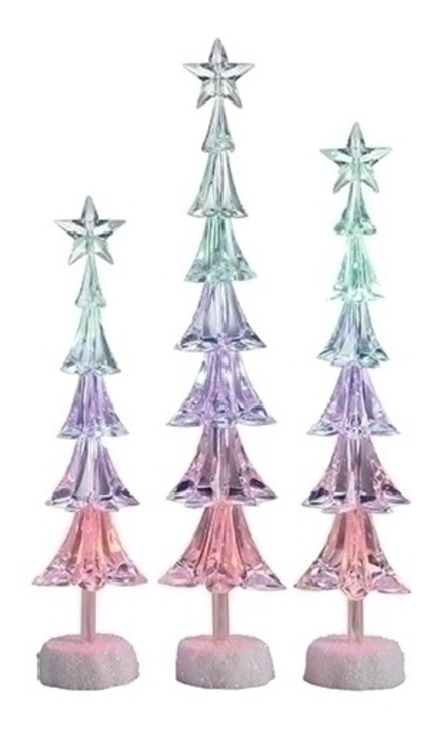 set of 3 icy crystal led slim christmas tree with star christmas table top figures 16
