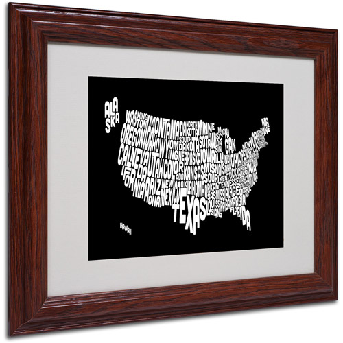 "Trademark Fine Art ""BLACK-USA States Text Map"" Matted Framed by Michael Tompsett"