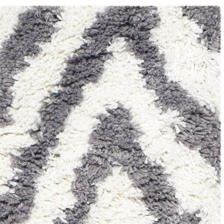 Safavieh Shag 5' Square Hand Tufted Acrylic Rug in Ivory and Gray - image 2 of 3