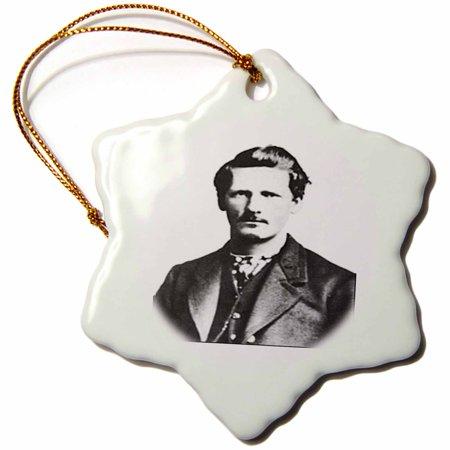 3dRose Vintage Photo Of Wyatt Earp In Black n White.jpg - Snowflake Ornament, 3-inch ()