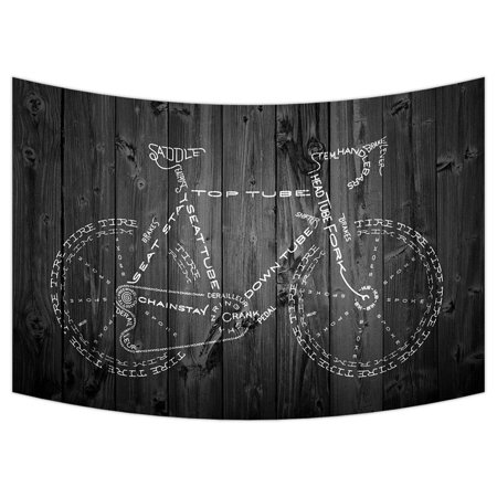 ZKGK Bicycle With Wood Tapestry Wall Hanging Wall Decor Art for Living Room Bedroom Dorm Cotton Linen Decoration 90x60 Inches