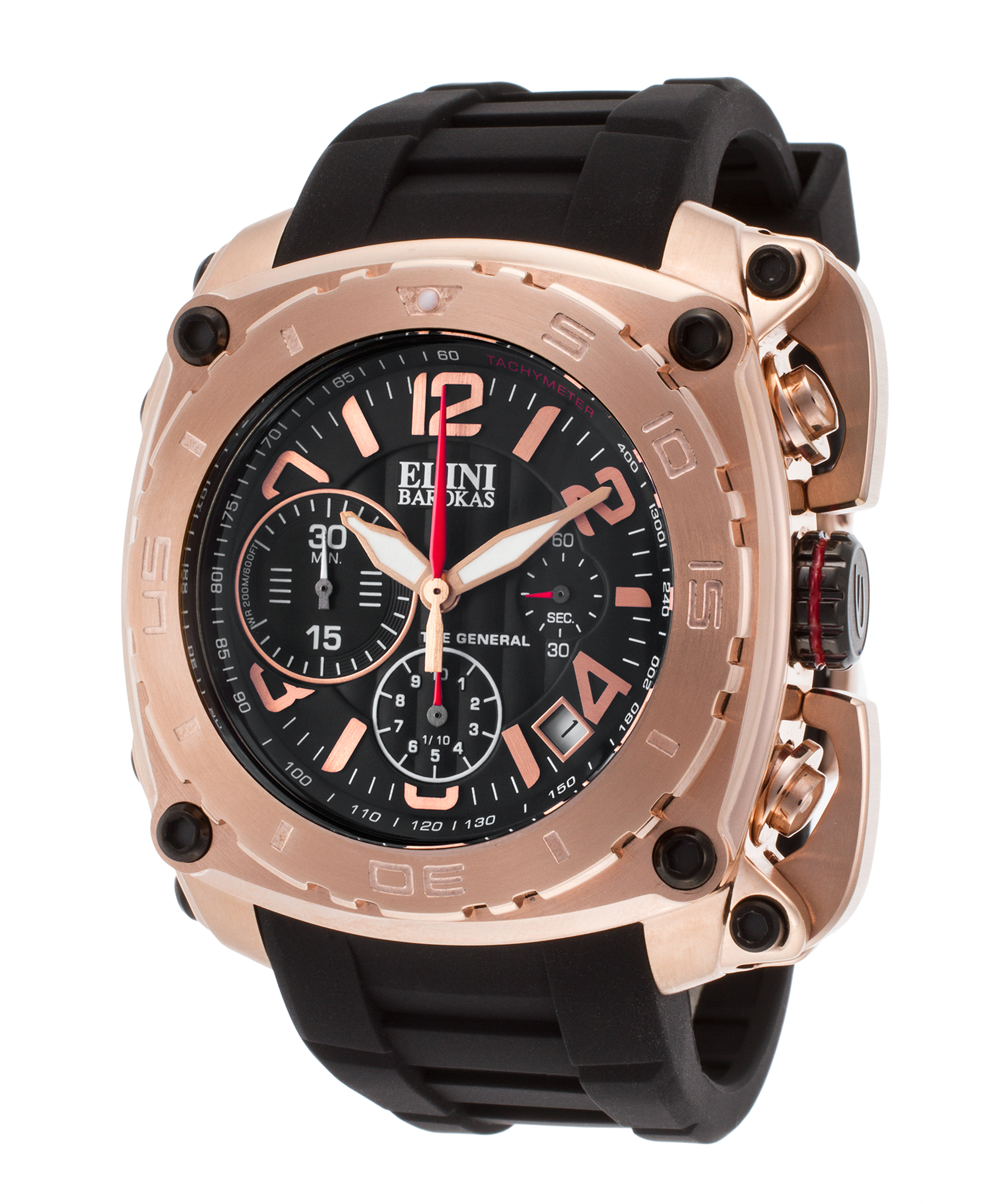 Elini Barokas 20010-Rg-01 The General Chronograph Black Silicone And Dial Rose-Tone Ss Watch