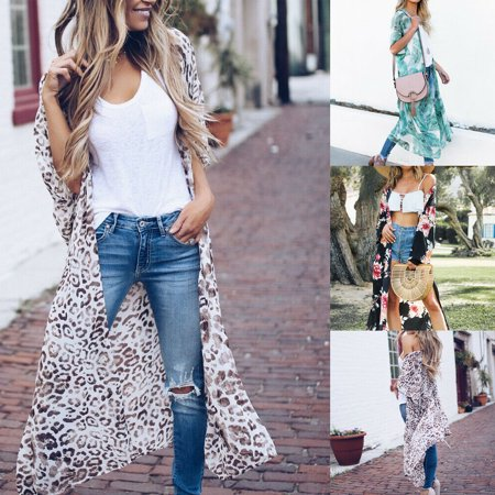 The Noble Collection Womens Long Sleeve Loose Cardigan Floral Kimono Blouse Tops Coat Jacket Outwear