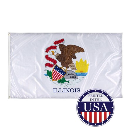 Illinois State Flags - 3ft x 5ft Knitted Polyester, State Flag Collection, Made in The USA