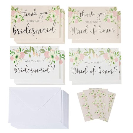 Sustainable Greetings 24-Pack Bridal Party Request Kit - 12 Bridesmaid and Maid of Honor Proposal Cards and 12 Thank You Cards, Envelopes Included, 4 x 6 Inches - Minimergency Kit For Bridesmaids