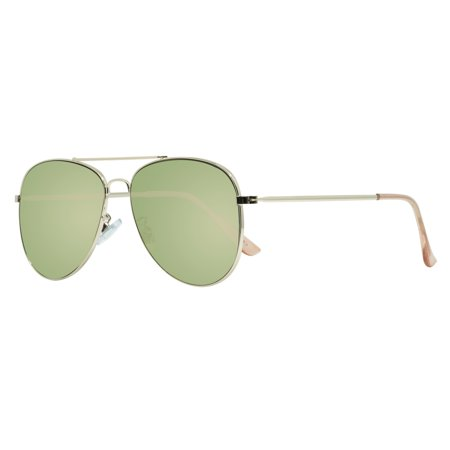 """Piranha """"Pilot"""" Shiny Light Gold Metal Frame Sunglasses with Crystal Light Pink Temple Tips and Brown Polarized Lens"""