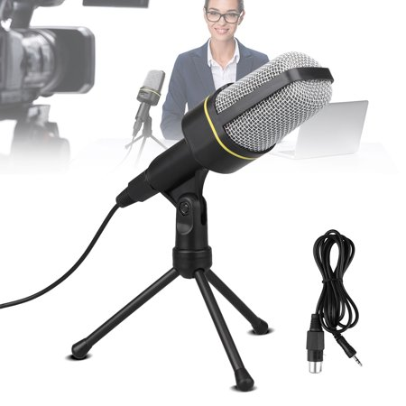 PC Microphone, TSV Portable Condenser Microphone 3.5mm Plug & Play with Tripod Stand Home Studio Recording Microphone for Computer, Smartphone, iPad, Podcasting Karaoke, YouTube, Skype,