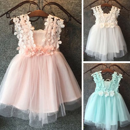 Flower Girl Balls (Pageant Baby Girls Princess Lace Flower Tulle Tutu Ball Gown Formal Party)