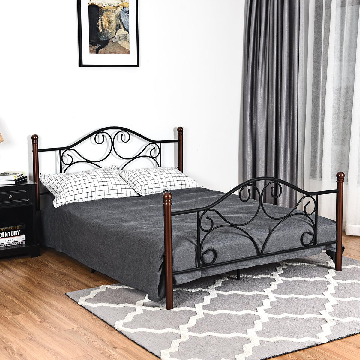 069ef63bd097 Queen Size Steel Bed Frame Platform Stable Metal Slats Headboard Footboard  Black | Walmart Canada