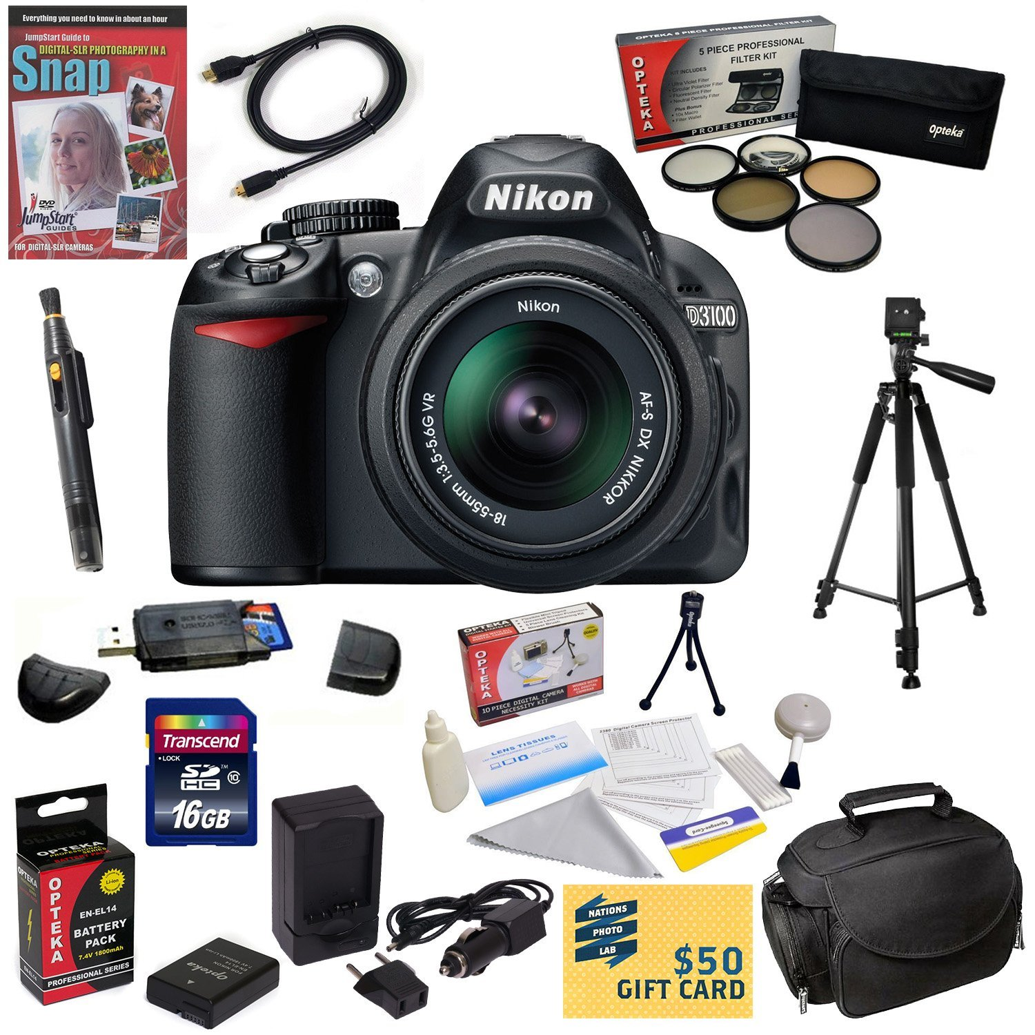 Nikon D3100 Digital SLR Camera with 18-55mm NIKKOR VR Lens With 16GB Memory Card, Card Reader, EN-EL14, Charger, 5 Piece Filter Kit, HDMI Cable, Case, Tripod, Lens Pen, DVD, $50 Gift Card & More