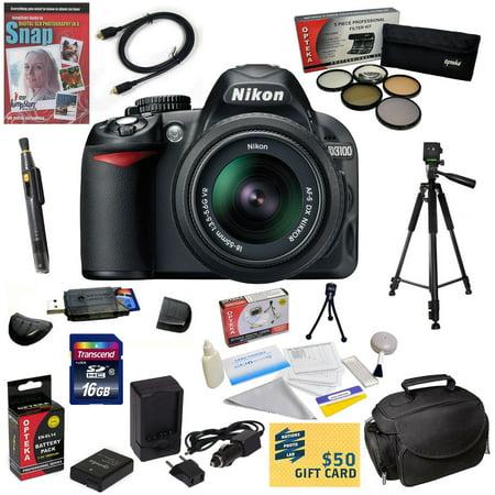 47th Street Photo - Nikon D3100 Digital SLR Camera with 18-55mm NIKKOR VR Lens With 16GB Memory Card, Card Reader, EN-EL14, Charger, 5 Piece Filter Kit, HDMI Cable, Case, Tripod, Lens Pen, DVD, $50 Gift Card & More
