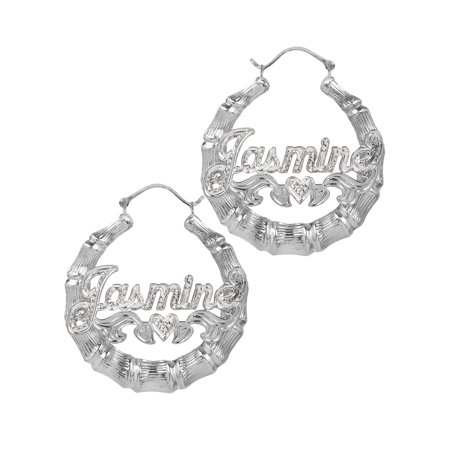 Sterling Silver or Gold Plated Personalized Bamboo Style Hoop Name Earrings with Beading and Rhodium All Over The Name and Heart on Tail