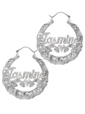 01ece5fb6 Product Image Sterling Silver or Gold Plated Personalized Bamboo Style Hoop  Name Earrings with Beading and Rhodium All