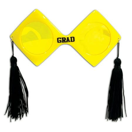 "Graduation School Colors Fanci Frame Grad Glasses w Tassles 6.5"" Sunglasses"