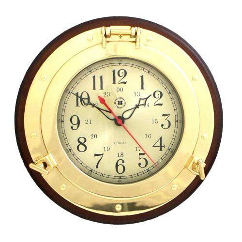 Bey-Berk International Brass Porthole Clock on Solid Wood - Tarnish Proof