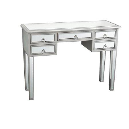 Ktaxon 5-Drawer Mirrored Makeup Table - Mirrored Desk Vanity Furniture Nightstand Glass -