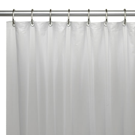 Extra Long (72'' x 78'') Mildew-Resistant, 10 Gauge Vinyl Shower Curtain Liner w/ Metal Grommets and Reinforced Mesh Header in Frosty