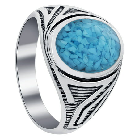 Gem Avenue Men's 925 Sterling Silver Turquoise Antique Design Ring (Mens Full Stone)