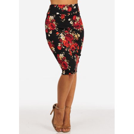 Eurotard Pull On Skirt - Womens Juniors Careerwear Office Wear to Work High Waisted Pull On Red Floral Print Pencil Bodycon Midi Skirt 20174U