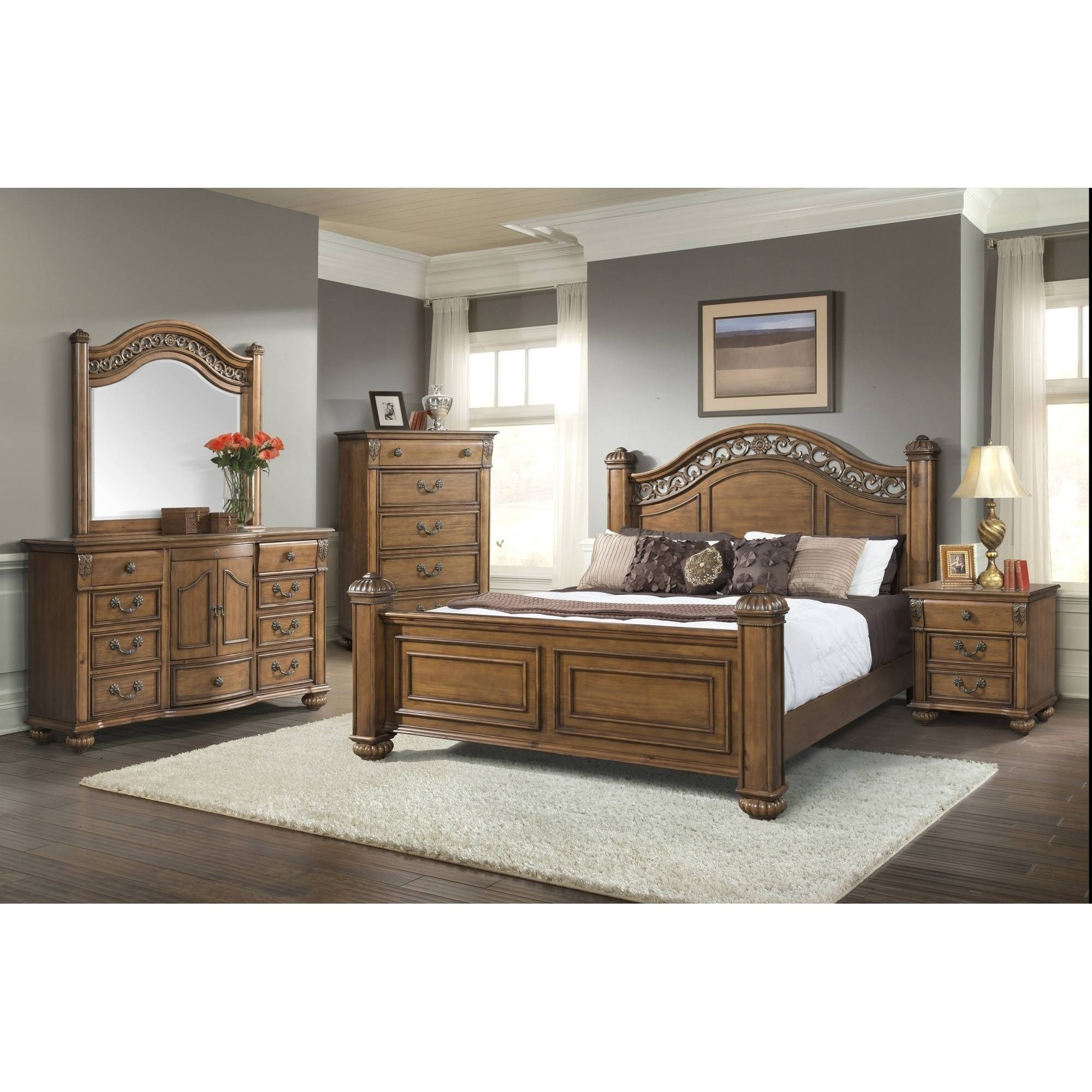 Picket House Furnishings Barrow Poster Bedroom Set, Multiple Sizes and Configurations by