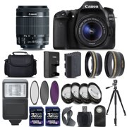 Canon EOS 80D Digital SLR Camera + 18-55mm IS STM Lens + 2 X 32GB + Telephoto + Wide-Angle Lens + Filters + Flash + Case + Tripod (18-55)