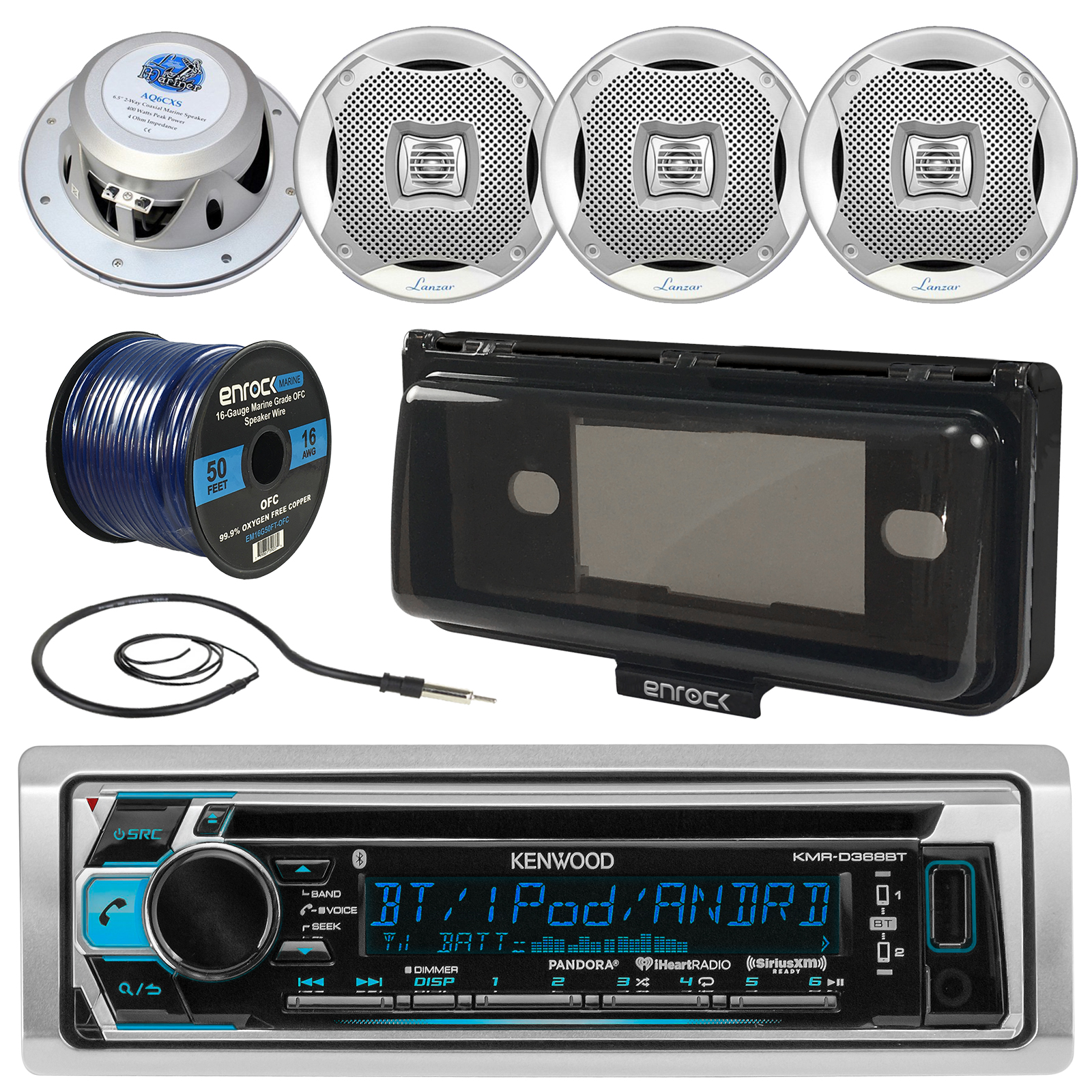 "Kenwood KMRD372BT In-Dash Marine Boat Audio Bluetooth CD Player Receiver W/ Waterproof Protective Cover Bundle Combo With 4x 400W 6.5"" Silver Coaxial Speakers + Radio Antenna + 16g 50FT Speaker Wire"