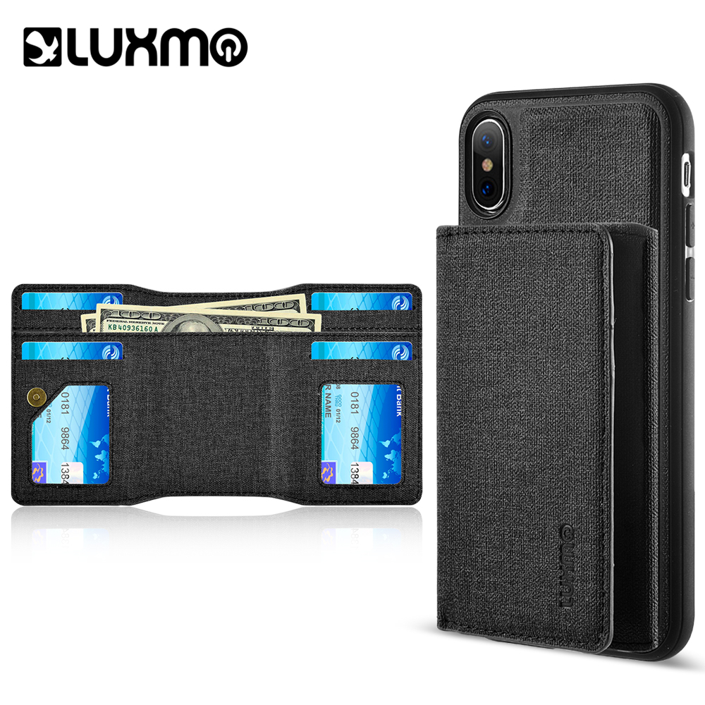 Luxmo Phone Case for iPhone X Wallet To Go Textured Coated Canvas Case With Magnetic Detachable Wallet - Black