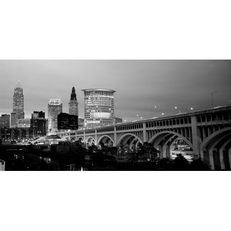 Bridge in a city lit up at dusk Detroit Avenue Bridge Cleveland Ohio USA Canvas Art - Panoramic Images (12 x 24)](City Of Parma Ohio Halloween)