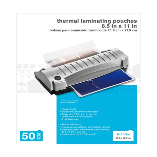 Thermal Laminating Pouches, 3mil, 8.5 x 11 in., 50 pack