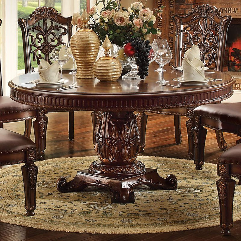 Acme Furniture Vendome Larger Round Pedestal Dining Table by
