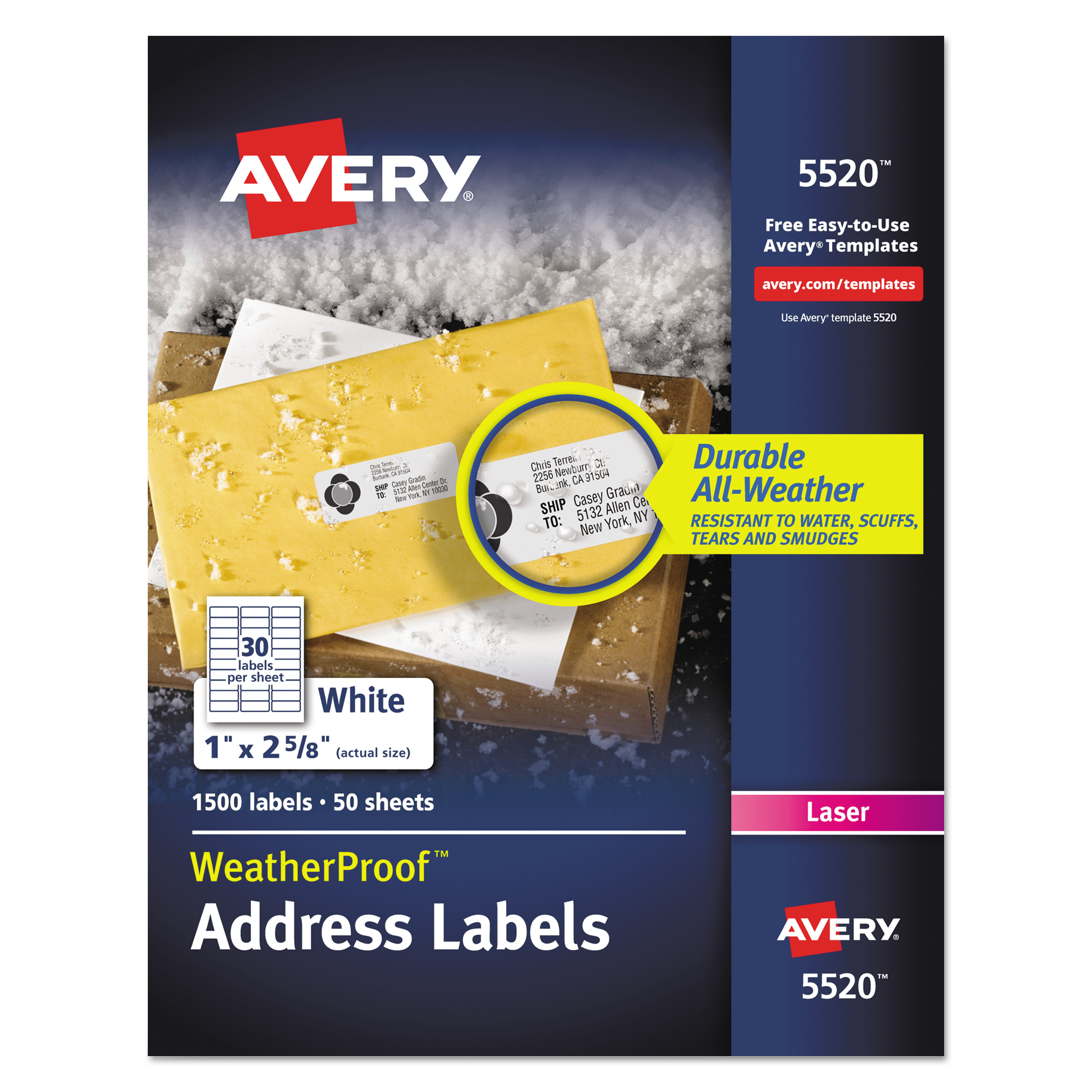 "Avery(R) WeatherProof(TM) Mailing Labels with TrueBlock(R) Technology for Laser Printers 5520, 1"" x 2-5/8"", Box of 1,500"