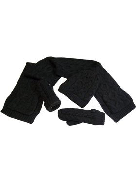 NICE CAPS Womens Bulky Cable Knit 3 Piece Hat Scarf Glove Winter Headwear Accessory Set With Warm Sherpa Lining - Fits Ladies Adults for Cold Weather
