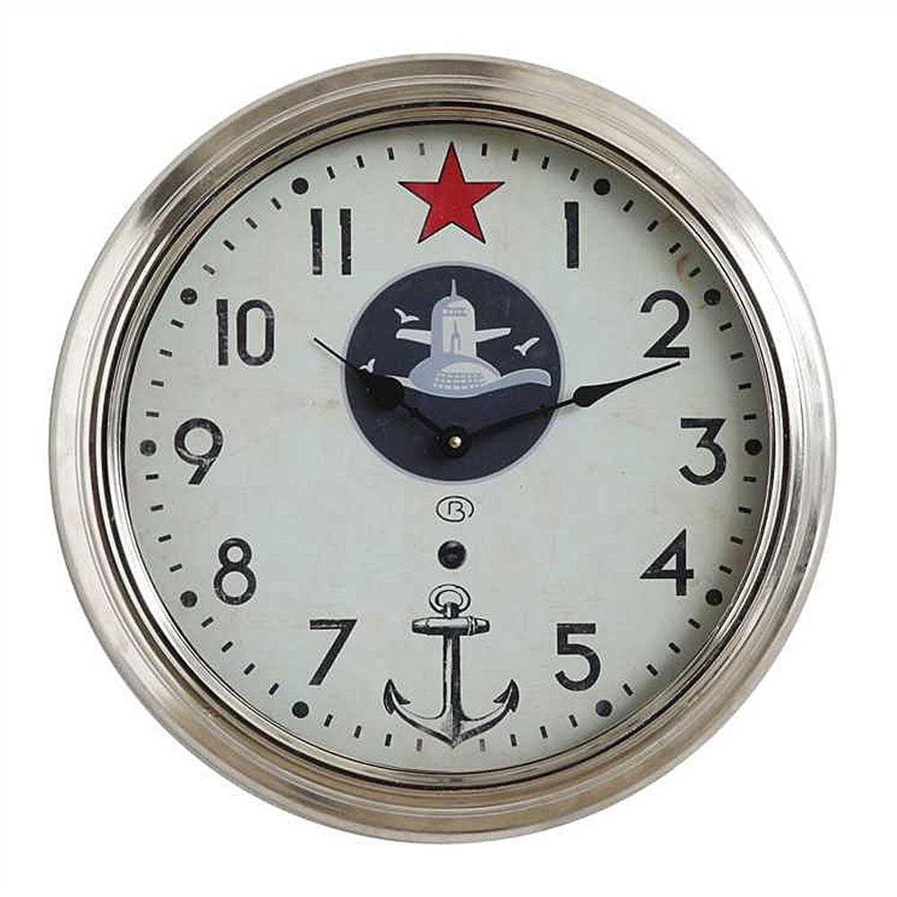 Creative Co-OP DA6672 Round Metal Framed Wall Clock with Star & Anchor