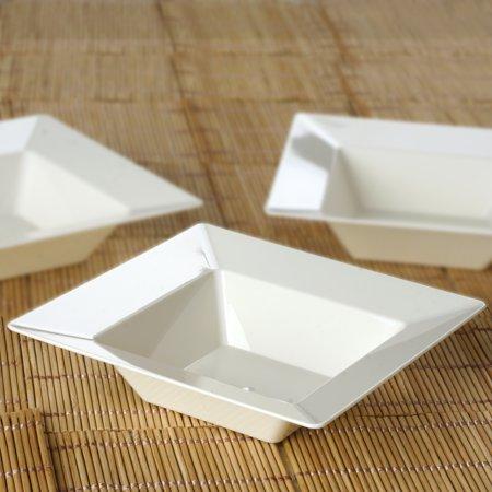 12 Oz White Plastic Bowl - BalsaCircle 10 pcs 5 oz Disposable Square Plastic Dessert Bowls for Wedding Reception Party Buffet Catering Tableware