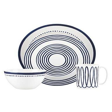 Kate Spade New York Charlotte Street West Dinnerware 4-Piece Place Setting, Blue and - Blue Place Setting